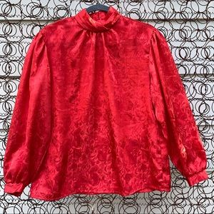 Vintage 70s red shiny floral long sleeve blouse